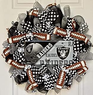 Oakland Raiders Football Sports Wreath Handmade Deco Mesh