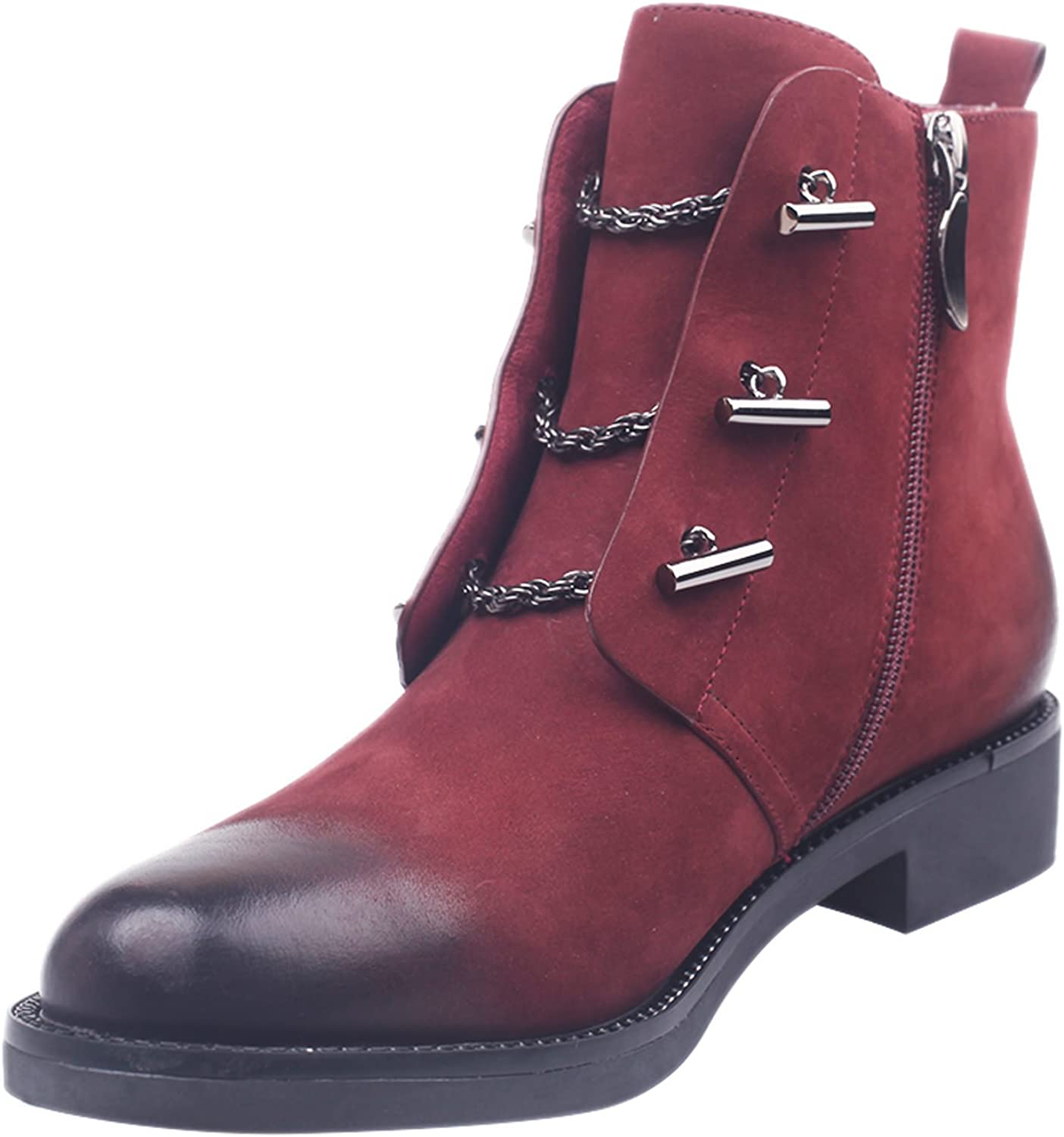 MARHEE Women's Ankle Boots Casual Leather Flat Side Zipper Martin Boots