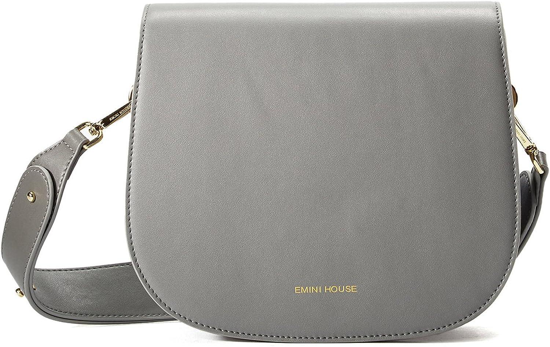 EMINI HOUSE Vintage Simple Saddle Bag with Wide Strap Snap Women Bag