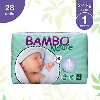 Bambo Nature Eco Friendly Baby Diapers Classic for Sensitive Skin, Size 1 (4-9 lbs), 28 Count