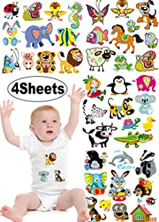 Kids Iron on Transfers Cute Patches 4 Sets Cartoon Animal Heat Transfer Patches for Baby DIY Decorative Applique Stickers for Girls T-Shirts Bags Garments Accessories Assorted Patterns Eco-Friendly