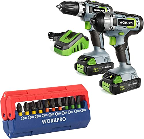 discount WORKPRO 2021 20V sale Cordless Drill Combo Kit with 13-Piece Impact Bit Set outlet sale