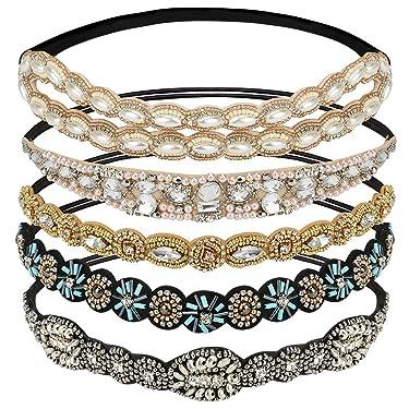 "WIOR 5Pcs Rhinestone Headbands for Women, Fashionable Handmade Diamond Elastic Headbands, Crystal Beaded Elastic Hairband for Girls Lady Vintage Jewelry Hair Accessories 20-26.8"" (Multicolor)"