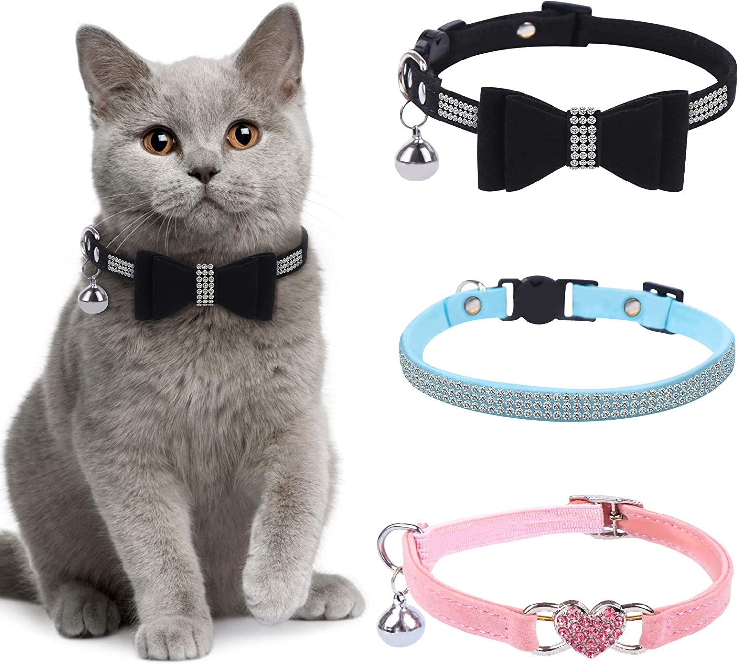 3 Max 40% OFF Cheap Sale 44% OFF Pieces Rhinestones Cat Collars with Bling Collar Breakaway