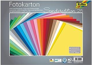 Folia 6125/25 99 - Cartón fotográfico (25 x 35 cm 300 g/m² 25 Hojas Surtidas en 25 Colores Base Ideal para Muchas Ideas de Manualidades)