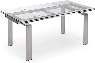 LF - Table de salle à manger Corona 160/240 x 85 plateau verre pied métal