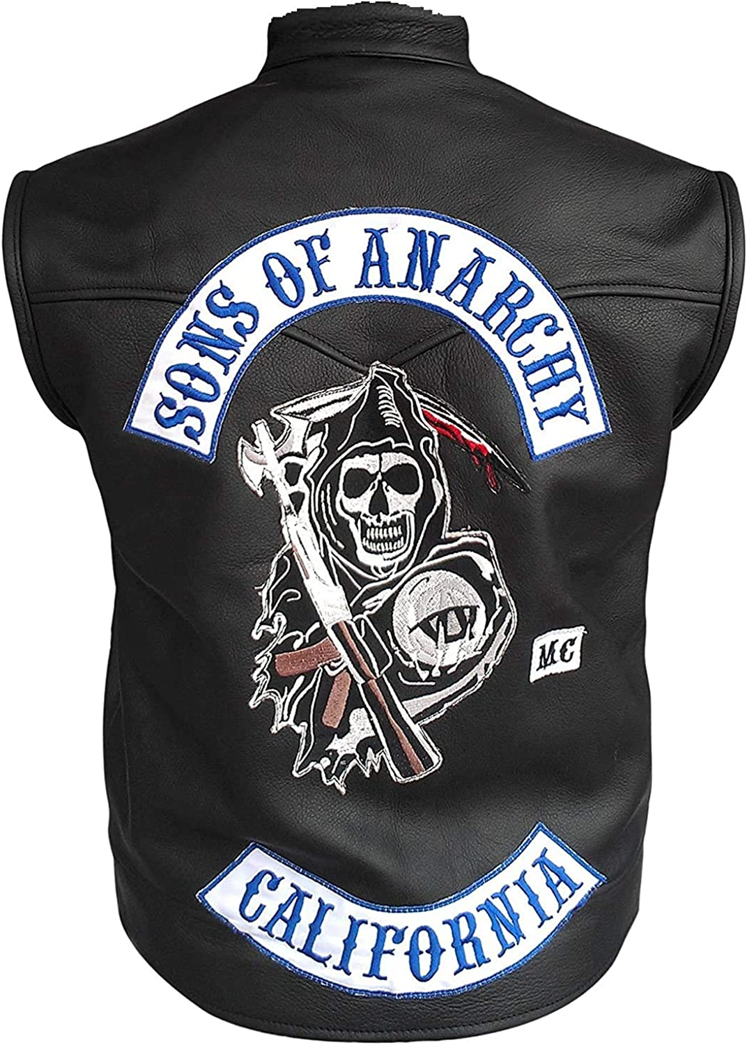 Men's SOA Sons of Anarchy Motorcycle Club Leather Vest with patches
