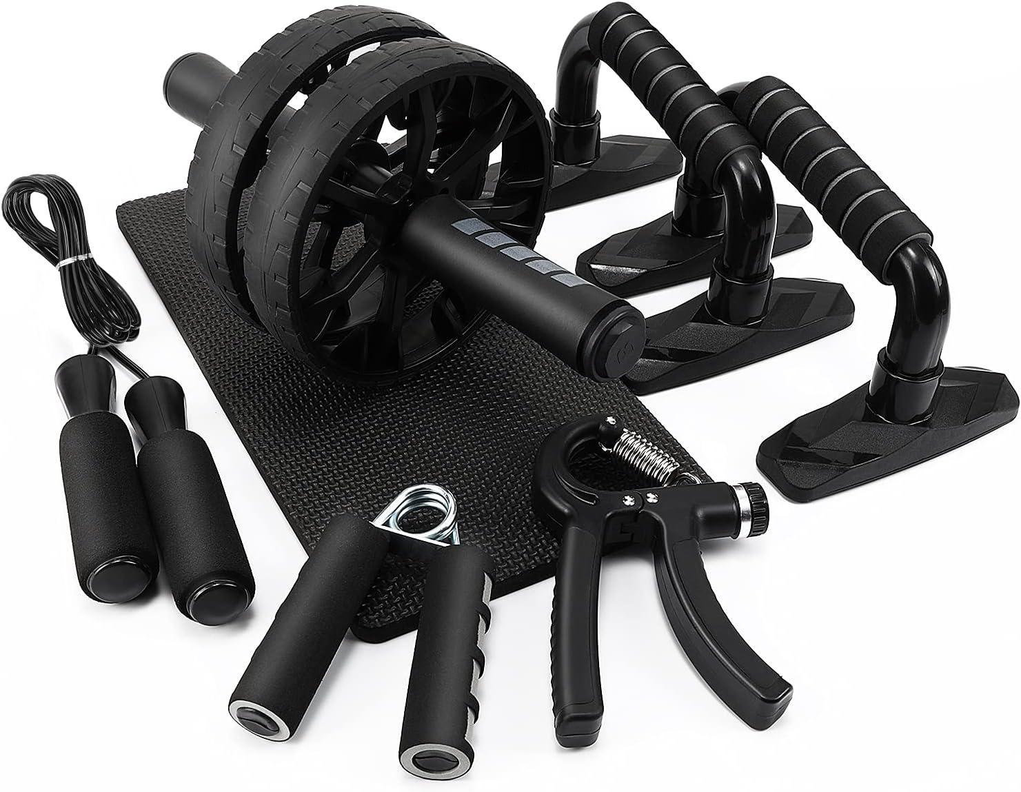 Rodillo Abdominales Set, 5 en 1 Kit de Rodillo de Rueda Ab Wheel Roller con Push Up Bars, Cuerda para Saltar, Rodilla Mat & Fortalecedores de Mano para Fitness Ejercicio Culturismo