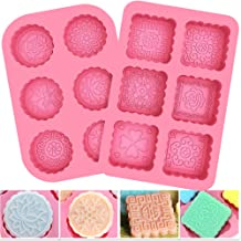 BESTZY 2 Pcs Round & Square 6-Cavity Silicone Soap Mold DIY Soap Mould Mooncake Chocolate Wafer Silicone Molds for Halloween