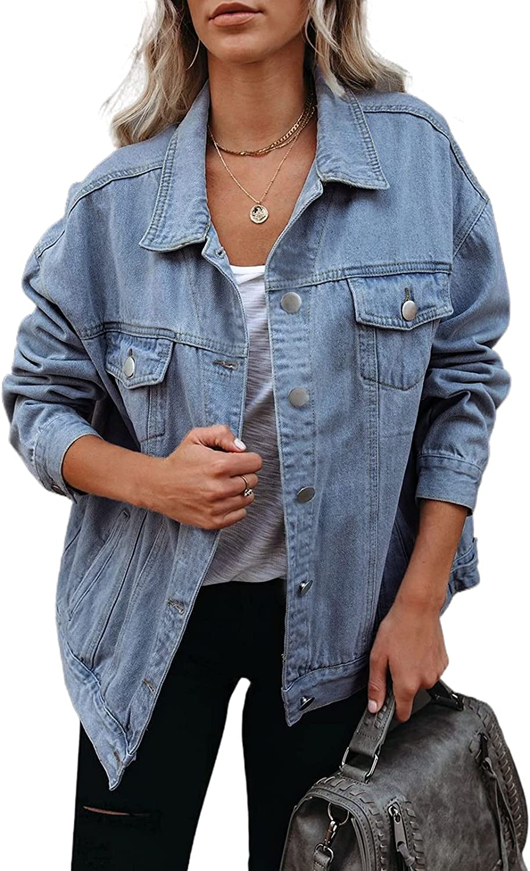 Mialoley Women's Jean Jacket Long Washed Button Up Long Sleeve Boyfriend Denim Jacket Coat with Pockets