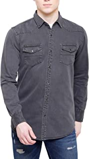 Southbay Men's Grey Full Sleeve Solid Casual Denim Shirt with Snap Buttons