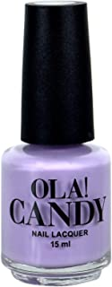 Ola Candy Lavender Lite Nail Color Nail Polish, Eco-Friendly Non-Toxic Finger Nail, Safe Dry Fast Collection for Women, Teens, Kids with Top Coat, Professional Kits Nail Polish (Lite Purple, 15 ML)