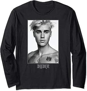 Justin Bieber Black/White Photo Long Sleeve T-Shirt