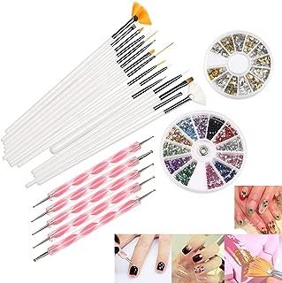 Nail Art Set, 22 Pcs DIY Nail Art Design Tools Include 15 Drawing Polish Brush Set,12 Colors Rhinestones,5 Dotting Pens, 3D Nail Art Gold/Silver Studs Stickers.