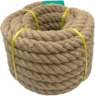 Aoneky Jute Rope - 1.18/1.5/2 Inch Twisted Hemp Rope for Crafts, Climbing, Anchor, Hammock, Nautical, Cat Scratching Post, Tug of War, Decorate (1 1/2 inch x 96 Feet)