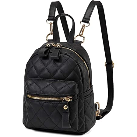 Kasgo Mini Rucksack Damen, Kunstleder Klein Elegant Handtasche für Mädchen Frauen Hochschule Tagesrucksack Daypack Schwarz