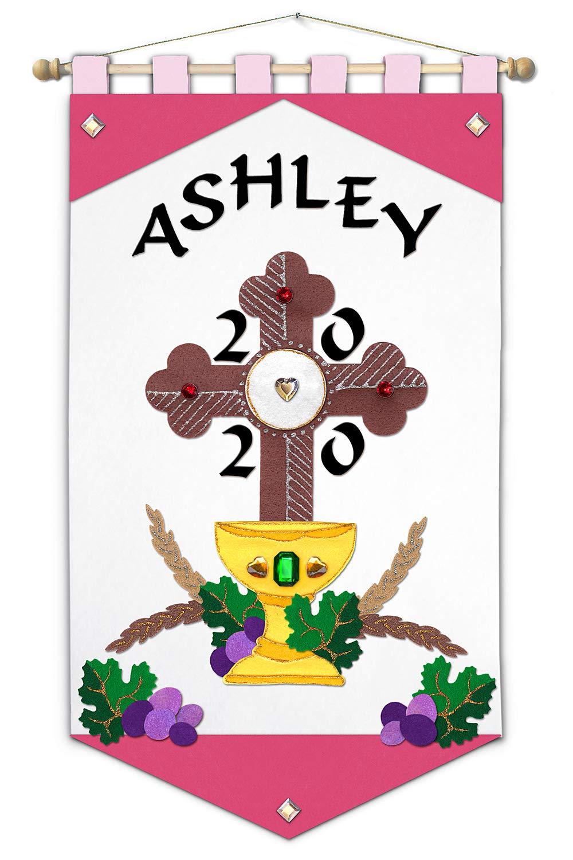 First Communion Banner Kit - 20 x 20 - Cross - Pink - Black Letters Regarding First Communion Banner Templates