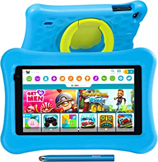 7 inch Kids Tablets Android 10 Go, KIDOZ Pre-Installed, 32GB ROM, 2.4G WiFi only, 1024x600 Touchscreen, Adjustable Kid-Pro...