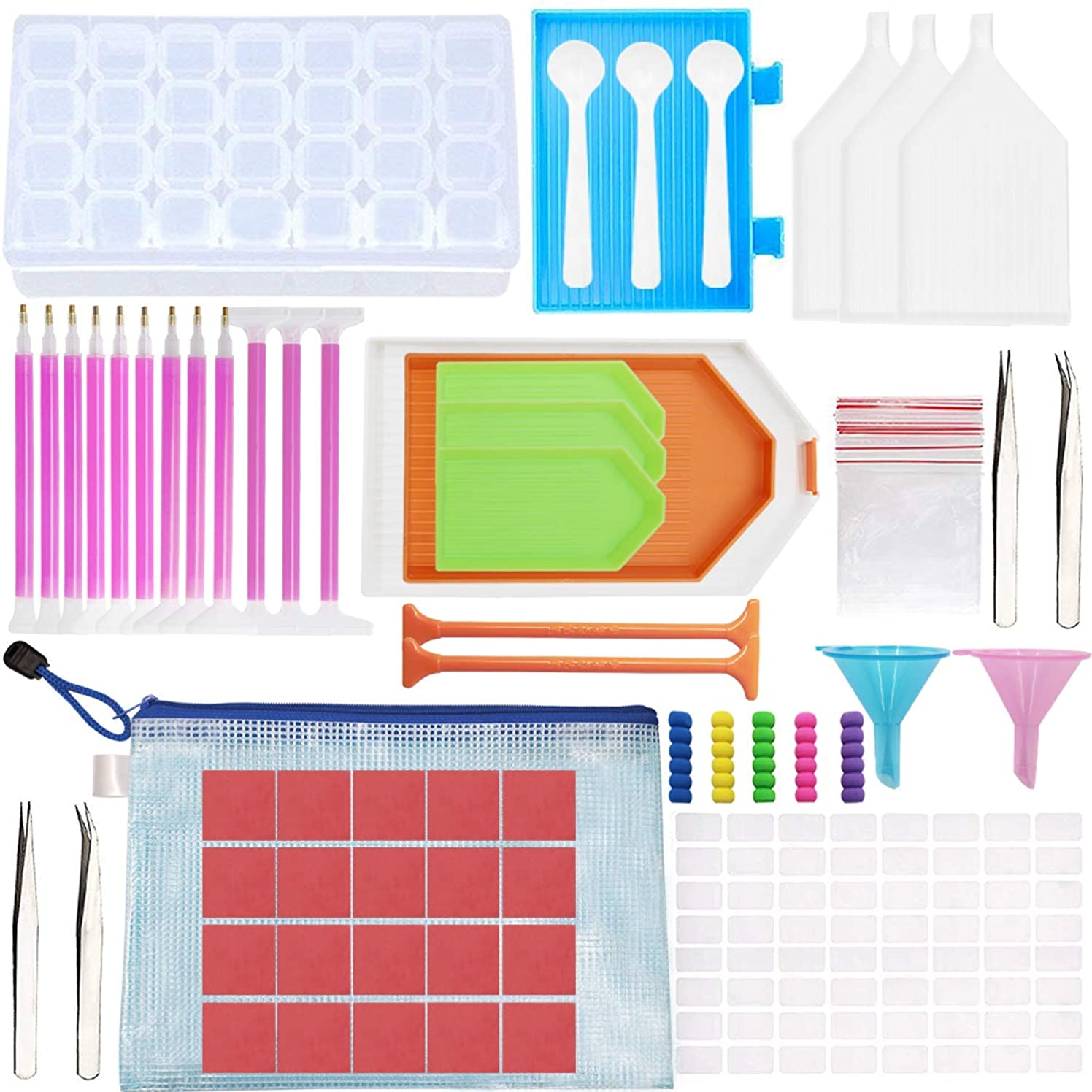 Bestlus 121 Pcs Diamond Painting Kits Tools Accessories for Adults Kids with 28 Slots Storage Containers