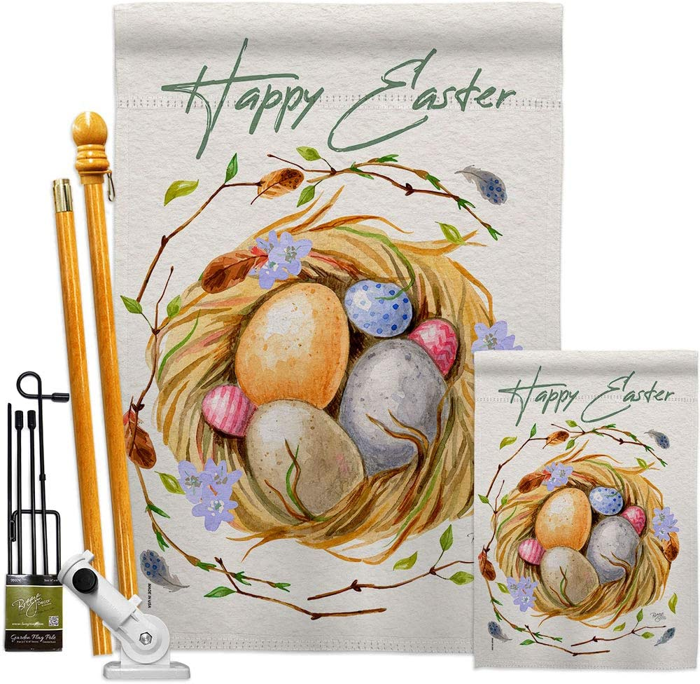 Breeze Decor Max 74% Quantity limited OFF Easter Nest Garden House Spring Bun Kit Happy Flags