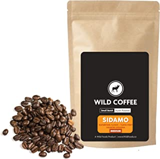 Wild Coffee, Organic Austin Roasted Small-Batch Whole Bean, 100% Arabica, Fair Trade, Single-Origin, Low Acid, Grade 1 (Sidamo Medium Roast, 12 ounce)