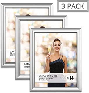 Langdon House 11x14 Picture Frame (3 Pack, Silver), Silver Photo Frame 11 x 14, Wall Mount or Table Top, Set of 3 Celebration Collection