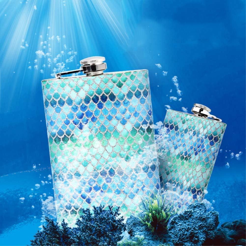 Blue 8 oz Stainless Steel Mermaid Hip Flask Leakproof Pocket Drinking Flask for Liquor Wine Alcohol Gift Set for Men Women