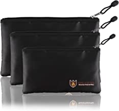 Fellibay Fireproof Document Bags Envelope Holder A4 Size Waterproof Fireproof Bag with Fireproof Zipper for Valuables, Money, Jewelry, Passport, Files Storaging 1Pcs Small Black