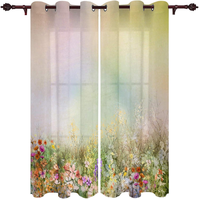 Kitchen Curtain Set of 2 Panels x Yel 安心の定価販売 期間限定送料無料 Each Watercolor 84'' 52''