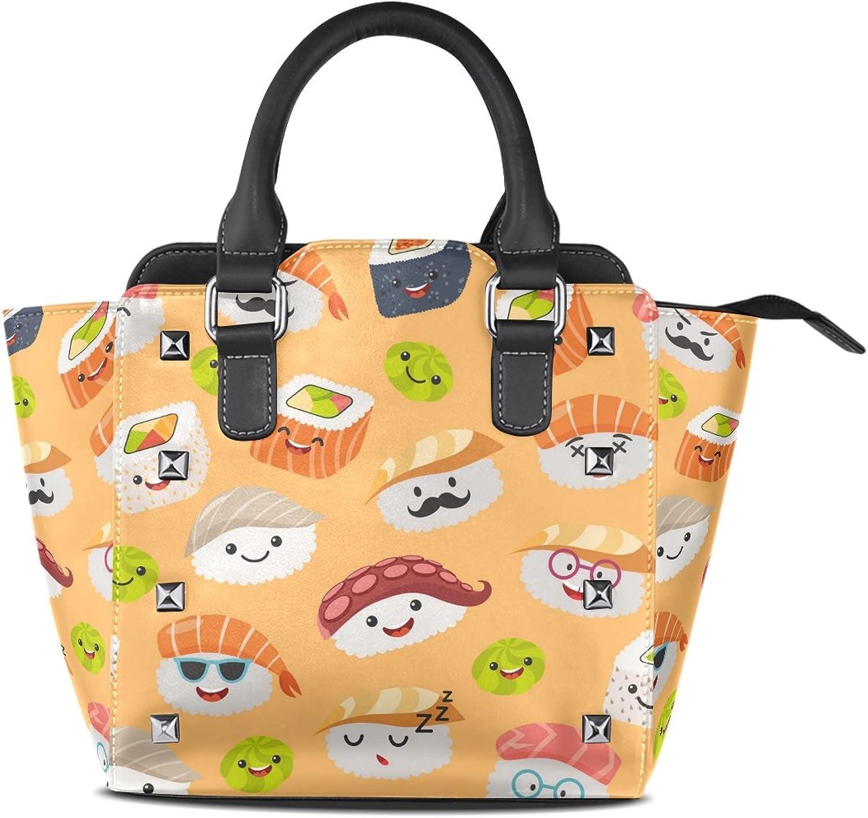 My Little Nest Women's Top Handle Satchel Handbag Cartoon Kawaii Sushi Emojis Ladies PU Leather Shoulder Bag Crossbody Bag