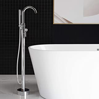 WOODBRIDGE F-0002 Chrome Freestanding Tub Filler Bathtub Floor Mount Brass Bathroom Faucets with Hand Shower