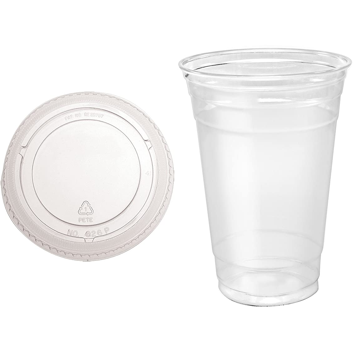 蒸発する予算ガウン(20) - 50 Sets 590ml Plastic CLEAR Cups with Flat Lids for Iced Coffee Bubble Boba Tea Smoothie