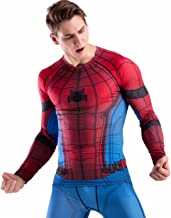 Red Plume Men Cool Dry Compression Long Sleeve Base Layer Shirts, Spider Tee