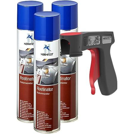AUPROTEC Convertisseur de Rouille Rostinator Peinture antirouille Spray anticorrosif 3X 400 ML + 1x poignée Originale pour Bombes aérosols