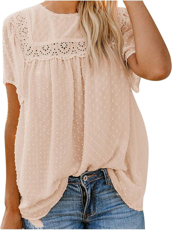 Women's Summer Short Sleeve Blouses Loose Casual Babydoll Boho Shirts Tops All-Match T-Shirts