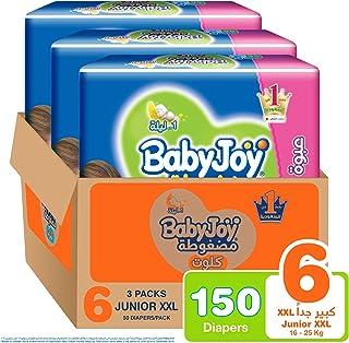 Babyjoy Cullotte Pants Diaper, Giant Pack Junior XXL Size 6, Count 150, 16+ KG