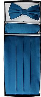Enimay Men's Paisley/Solid Combo Pack 3pc Set Bow Tie Handkerchief Cummerbund