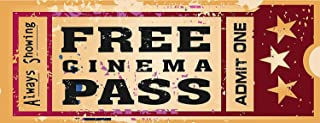 Home Cinema Metal Sign, Ticket to The Movie, Media Room, Family Room, Bar, Den Decor TIN Sign 7.8X11.8 INCH
