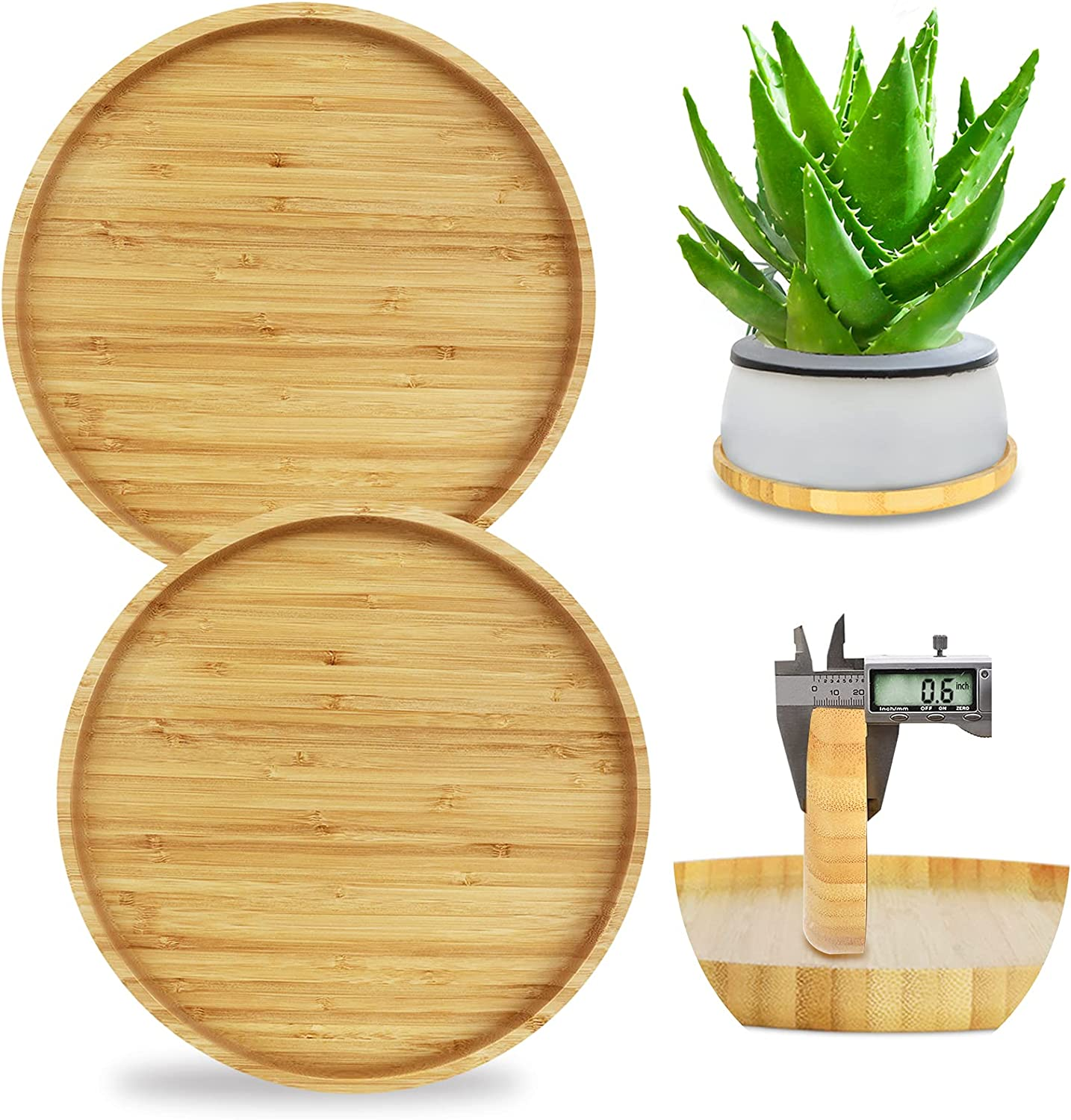 Ebingoo 2 pcs 10 inch Thick Large Limited time cheap sale Saucer Bamboo for supreme Solid Plant