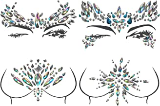 4 Sets Rhinestone Mermaid Festival Face Jewels Crystal Tattoo Eyes Face Breast Chest Forehead Body Temporary Gems Stickers Tattoos by CSPRING