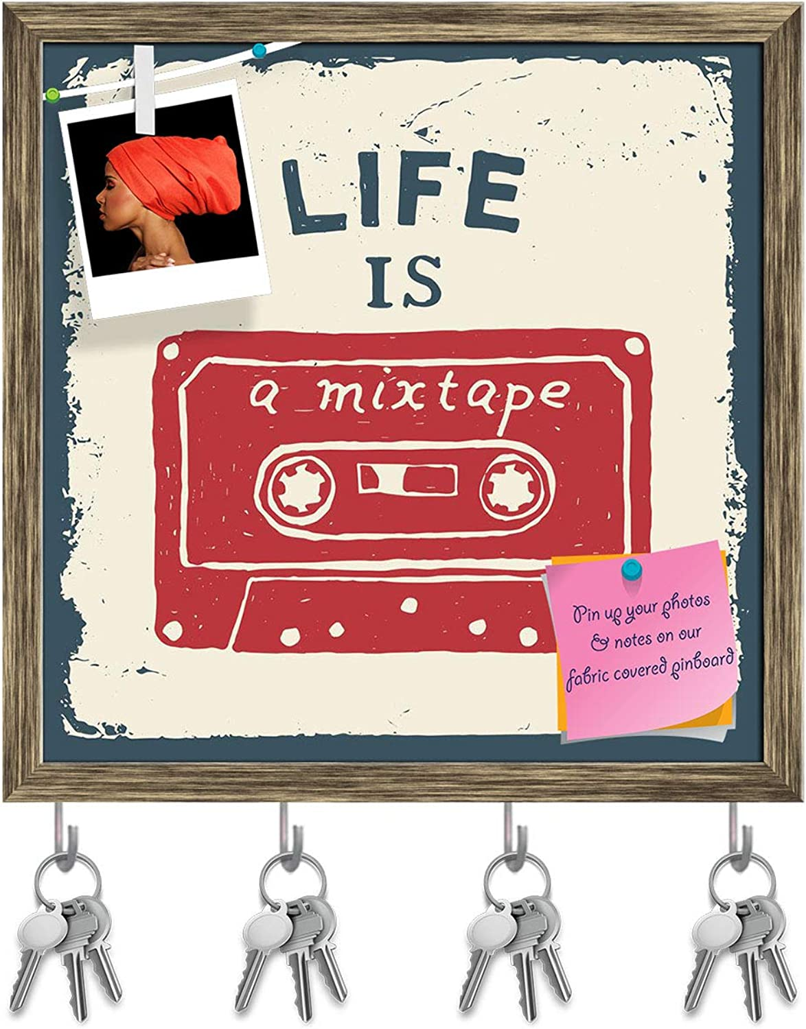 Artzfolio Life is A Mixtape Key Holder Hooks   Notice Pin Board   Antique golden Frame 20 X 20Inch