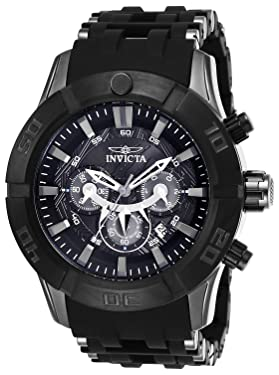 "Invicta Men's Marvel""Black Panther"" Analog Display Chronograph Quartz Watch"