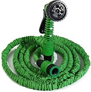KOOTANS 25FT Expandable and Flexible Water Hose, 7-Pattern Spray Nozzle Garden Hose for Garden Patio Lawn Car Pet Washing-Green