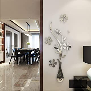 YINASI 3D Mirror Wall Stickers, Acrylic Luxury Vase Plum Flowers Pattern Removable Wall Decor for Living Room Entrance Bed...