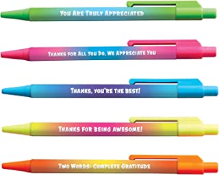 Colorful Motivational Quote Pens - Ombre - Employee Appreciation and Recognition Gifts - 5 Pack