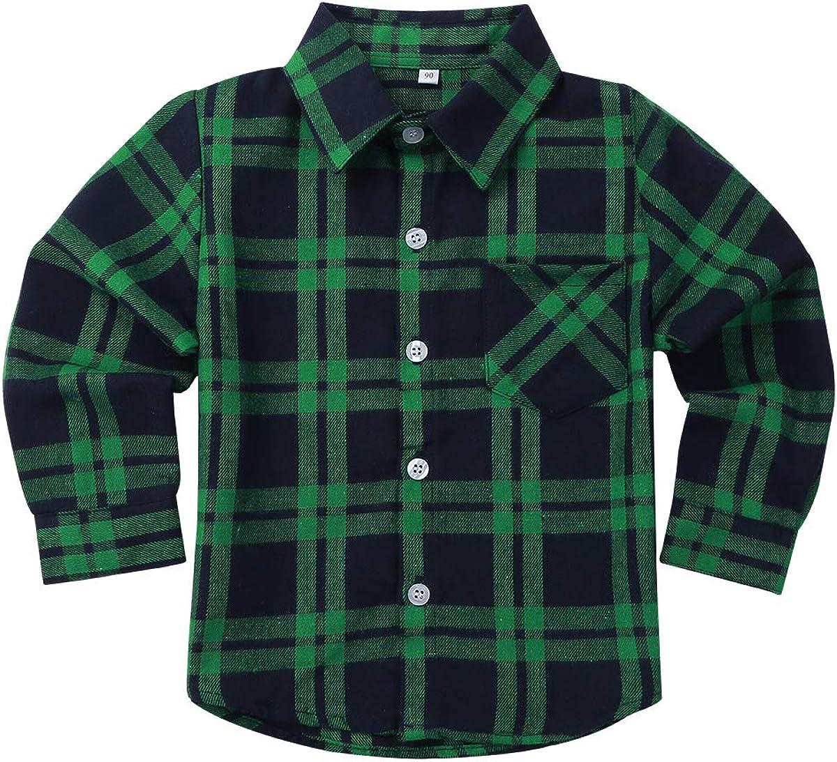 ACSUSS Kids Boys Long Sleeves Plaid Lapel Collar Shirt Children Autumn Fall Button Down Flannel Shirt Tops