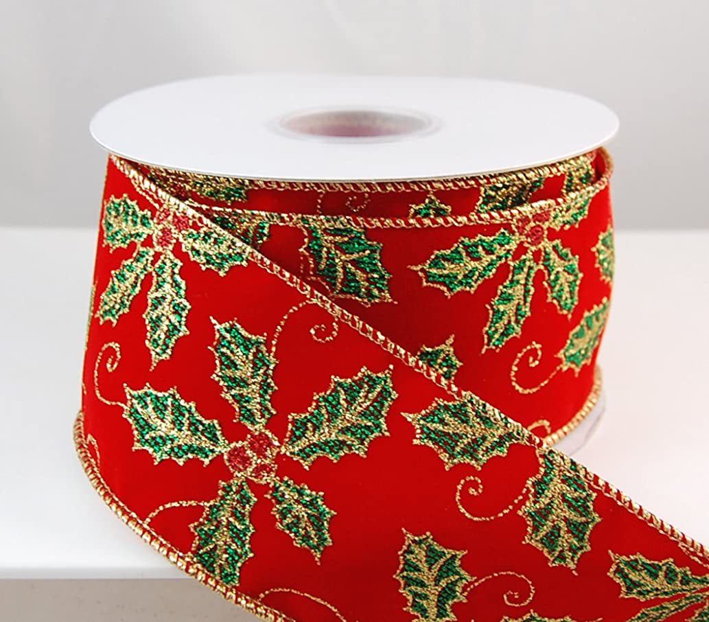 Reliant Ribbon Holly Glitter Velvet Wired Edge Fabric Ribbon, 2-1/2 Inch X 10 Yards, Red