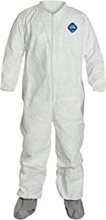 DuPont Tyvek 400 TY121S Disposable Protective Coverall with Skid-Resistance Boots and Elastic Cuffs, White, X-Large (Pack of 25)