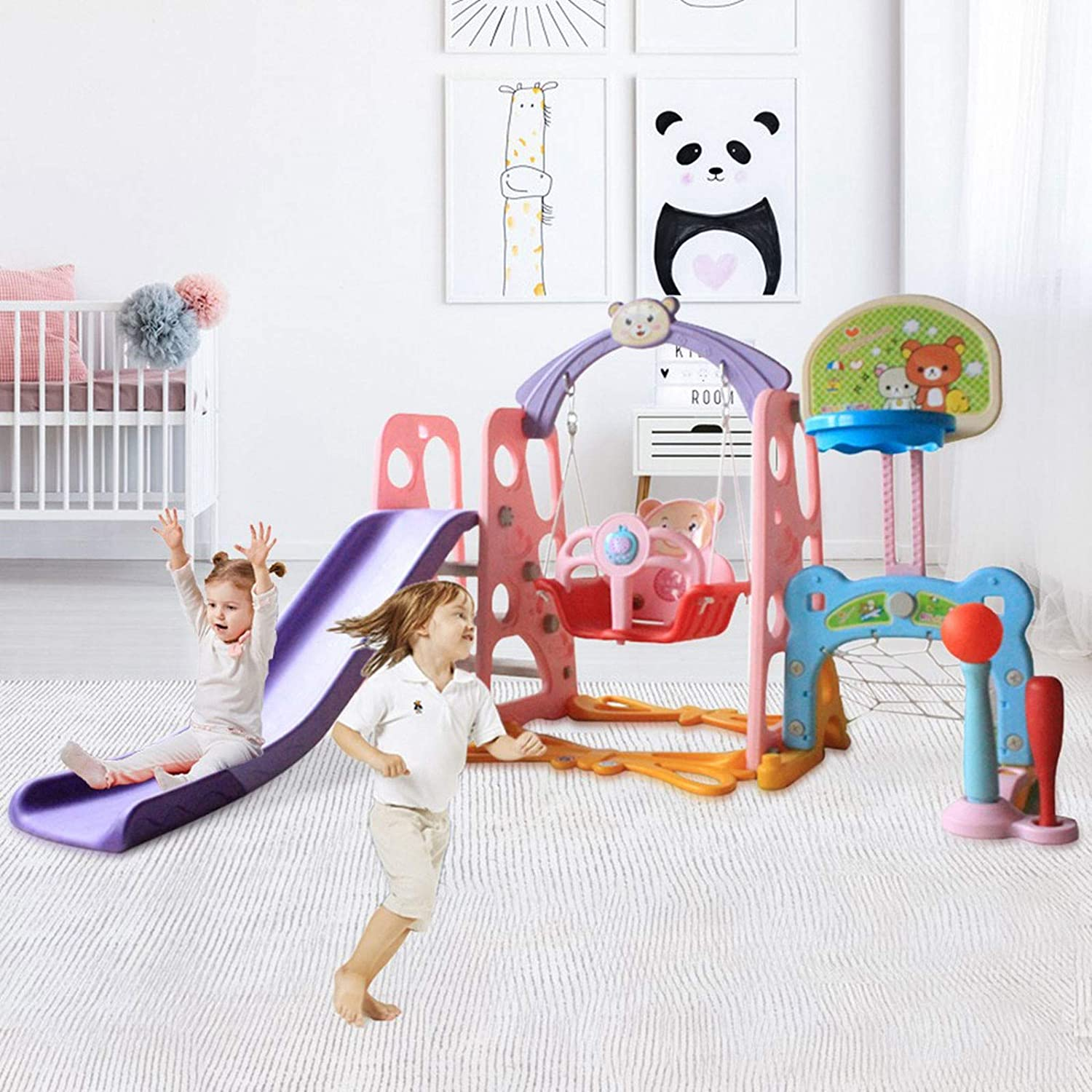 US 3-5 Day,Pink Football Gate Toddler Climber and Swing Set,6 in 1 Kids Indoor and Outdoor Freestanding Slide Swing with Basketball Hoop Baseball Bat,Music Machine,Infant Playground Yard Games