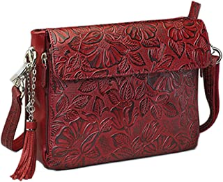 Concealed Carry Purse - Leather Tooled American Cowhide Crossbody Organizer Bag by GTM